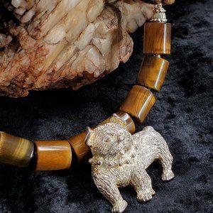 Natural Tiger Eye Stone Silver DOG/PET Necklace